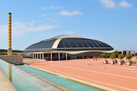 olympic ring: Barcelona, Spain - 09 July, 2012: Palau Sant Jordi (St. Georges Palace) is an indoor sporting arena part of the Olympic Ring complex located in Montjuic district of Barcelona Editorial