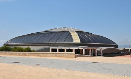 deportes olimpicos: Barcelona, ??España - 09 julio de 2012: Palau Sant Jordi (San Jorge Palacio) es una parte deportiva arena de interior del complejo anillo olímpico situado en el barrio de Montjuic de Barcelona