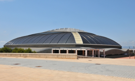 olympic ring: Barcelona, Spain - 09 July, 2012: Palau Sant Jordi (St. George Palace) is an indoor sporting arena part of the Olympic Ring complex located in Montjuic district of Barcelona