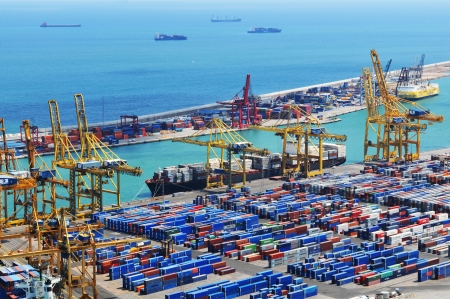Barcelona, Spain - 05 July, 2012: Aerial view of harbour with cargo containers waiting to be loaded Editorial