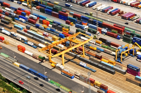 Barcelona, Spain - 05 July, 2012: Aerial view of harbour with cargo containers waiting to be loaded Editoriali