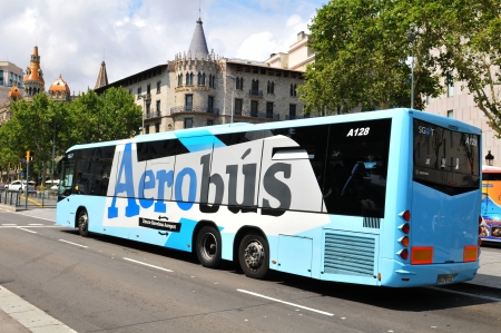 catalunya: Barcelona, Spain - 07 July, 2012: Aerobus airport transfer in Placa de Catalunya (Catalonia Square) in central Barcelona  Editorial