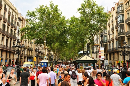 ramblas: Barcelona, Spain - July 08, 2012: Crowds of tourists shopping in La Ramblas, major commercial area in the centre of Barcelona