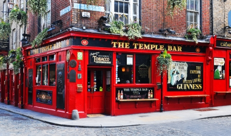 Dublin, Ireland - 30 March, 2013 - Temple Bar is a famous landmark in Dublins cultural quarter visited by thousands of tourists every year  Editorial