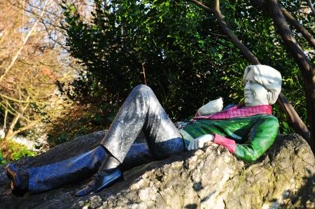 Dublin, Ireland - March 2013 Statue of Oscar Wilde in Merrion Square, Dublin, Ireland