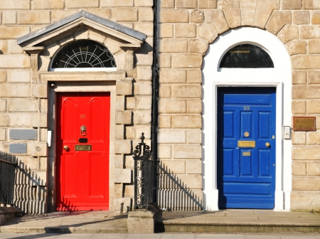Red and blue doors in Dublin, Ireland photo