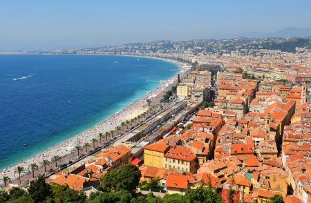 nice weather: Aerial view of French Riviera in Nice, France