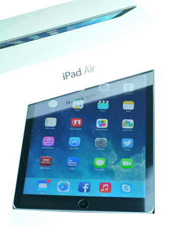 marketed: London, UK – December 13th, 2013 - Detail of iPad Air, the fifth generation iPad tablet computer designed, developed and marketed by Apple Inc   released on November 1, 2013