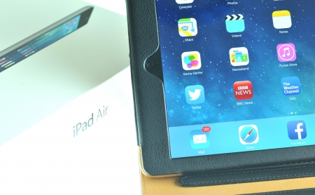 London, UK – December 13th, 3013 - Detail of iPad Air, the fifth generation iPad tablet computer designed, developed and marketed by Apple Inc   released on November 1, 2013