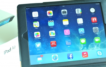 London, UK – December 13th, 3013 - Leather case for iPad air, the fifth generation iPad tablet computer designed, developed and marketed by Apple Inc   released on November 1, 2013