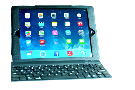 marketed: London, UK – December 13th, 3013 - Wireless keyboard for iPad Air, the fifth generation iPad tablet computer designed, developed and marketed by Apple Inc   released on November 1, 2013