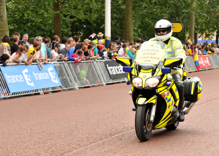 London, UK � July 7, 2014  Police surveys the area of The Mall who hosted the third stage of the Tour de France