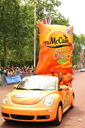 sponsors: London, UK - July 7, 2014  Sponsors caravan arrive at The Mall in London which hosted the third stage of the Tour de France  Editorial