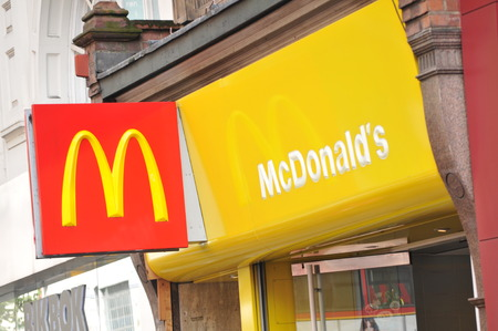 LONDON, UK - FEBRUARY 3, 2011: Close up of McDonalds logo in central London (illustrative editorial)