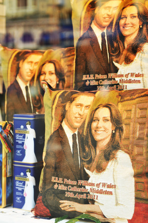 WINDSOR, UK - APRIL 24, 2011: Windsor shop displays souvenirs of the Royal wedding of Prince William and Catherine Middleton