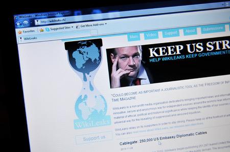 journalistic: LONDON, UK - 6 Febbraio, 0211: Close up of home page con WikiLeaks Julian Assange (editoriale illustrativo)