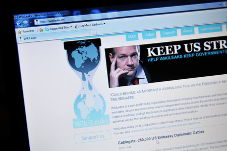 LONDON, UK - FEBRUARY 6, 0211: Close up of WikiLeaks home page with Julian Assange (illustrative editorial) Editoriali