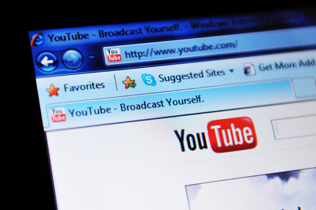 illustrative: LONDON, UK - FEBRUARY 3, 2011: Close up of Youtube website on laptop screen (illustrative editorial)