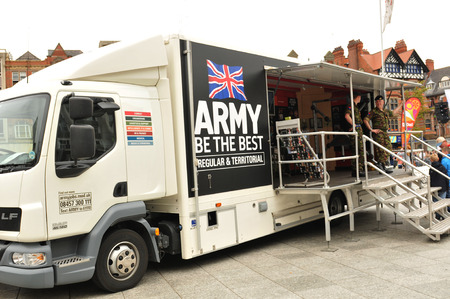 promoter: NOTTINGHAM, UK - MAY 25, 2011: Army recruitment action during the Armed Forces Day