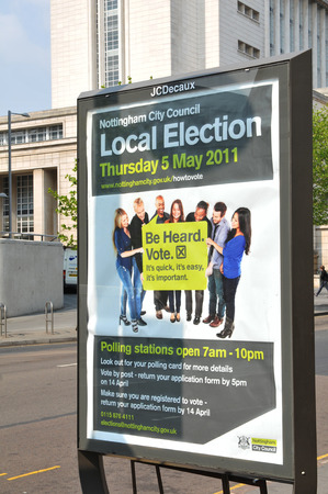 local council election: NOTTINGHAM, UK - MAY 5, 2011: Poster advertising coming local elections in central Nottingham Editorial