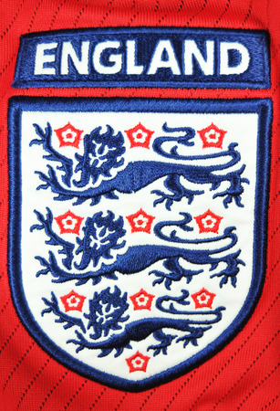 illustrative editorial: LONDON, UK - MARCH 8, 2011: Detail of England national footballrugby team logo on T-shirt (illustrative editorial)