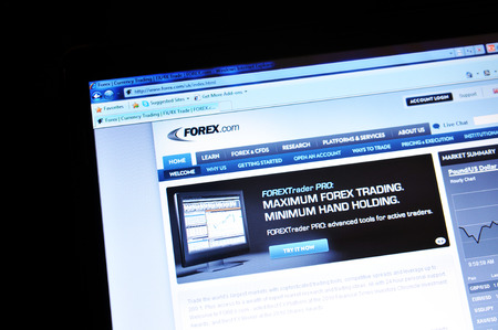 illustrative editorial: LONDON, UK - MARCH 8, 2011: Close up of the Forex currency market website on laptop screen (illustrative editorial)