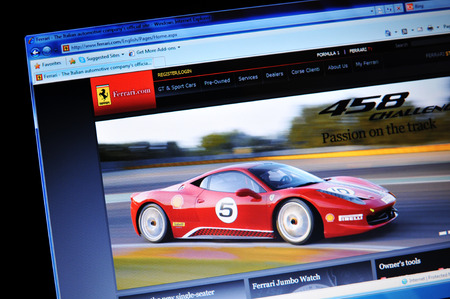 LONDON, UK - MARCH 8, 2011: Close up of official Ferrari website on laptop screen (illustrative editorial)