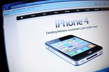 illustrative editorial: LONDON, UK - FEBRUARY 3, 2011: iPhone 4 for sale on Apple on-line store (illustrative editorial)