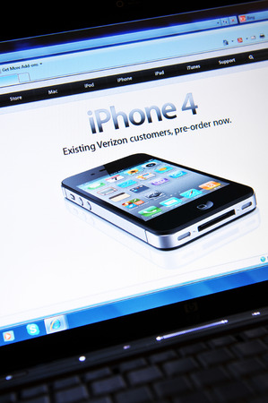 illustrative: LONDON, UK - FEBRUARY 3, 2011: iPhone 4 for sale on Apple on-line store (illustrative editorial)