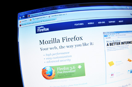 internet explorer: LONDON, UK - FEBRUARY 3, 2011: Close up of Mozilla Firefox internet browser on laptop screen Editorial