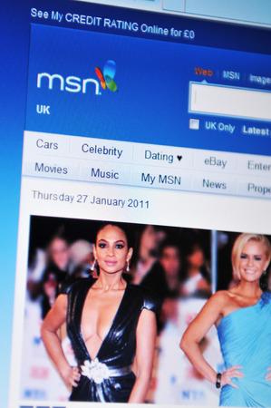 microsoft: LONDON, UK - JANUARY 27, 2011: The official page of MSN UK (originally The Microsoft Network), a collection of Internet sites and services provided by Microsoft.