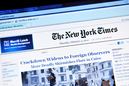 LONDON, UK - FEBRUARY 3, 2011: Close up of the electronic version of The New York Times on laptop screen