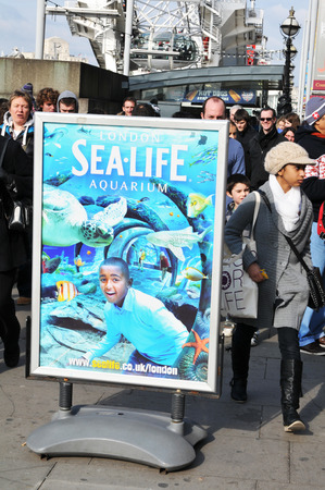 aquarium visit: LONDON, UK - MARCH 5, 2011: Sea Life Aquarium sign located on the South Bank of the River Thames in central London Editorial