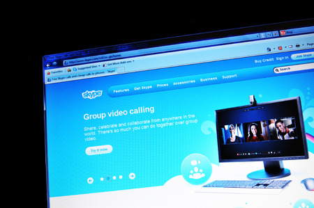 skype: LONDON, UK - FEBRUARY 3, 2011: Close up of Skype official website on laptop screen