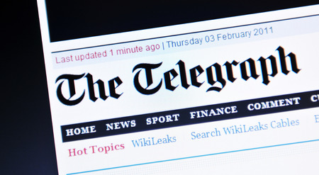 internationally: LONDON, UK - FEBRUARY 3, 2012: Close-up of The Telegraph home page, one of the most famous newspapers in United Kingdom and internationally. Editorial