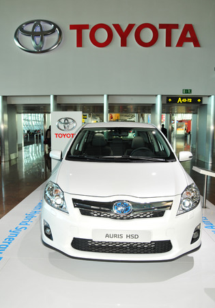 BRUSSELS, BELGIUM - AUGUST 30, 2010: Motor car show featuring the new Toyota Auris HSD release from the famous automobile manufacturer
