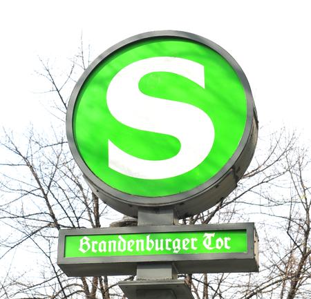 u bahn: BERLIN, GERMANY, MARCH 30, 2014 Detail of metro sign in Berlin, Germany Editorial