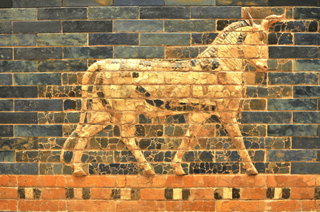 babylonian: Architectural detail of Babylonian fresco