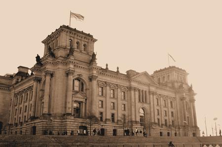 postwar: Vintage postcard depicting the Reichstag building in Berlin, Germany