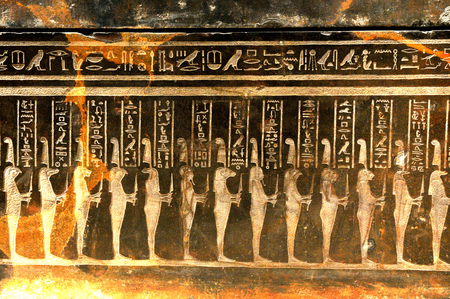 hieroglyphs: Detail of ancient Egyptian symbols Stock Photo
