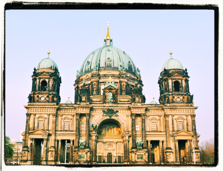 dom: Vintage view of Berlin Cathedral Berliner Dom Stock Photo