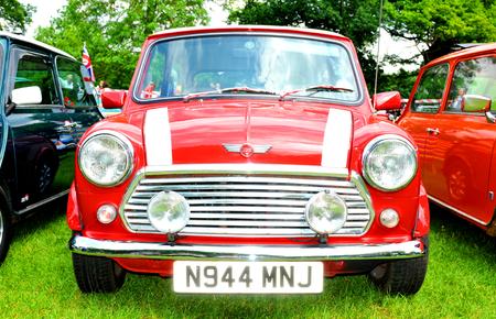 mini: NOTTINGHAM, UK. JUNE 1, 2014: Mini retro car displayed at the vintage car fair in Nottingham, England.