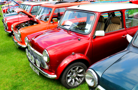 NOTTINGHAM, UK. JUNE 1, 2014: Retro cars displayed at the vintage car fair in Nottingham, England.