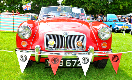 frontal view: NOTTINGHAM, UK. JUNE 1, 2014: Retro car displayed at the vintage car fair in Nottingham, England.