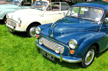 morris: NOTTINGHAM, UK. JUNE 1, 2014: Morris retro car displayed at the vintage car fair in Nottingham, England. Editorial