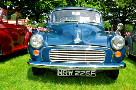 antique car: NOTTINGHAM, UK. JUNE 1, 2014: Morris retro car displayed at the vintage car fair in Nottingham, England. Editorial