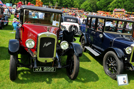 old car: NOTTINGHAM, UK. JUNE 1, 2014: Austin retro car displayed at the vintage car fair in Nottingham, England. Editorial