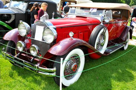 vintage car: NOTTINGHAM, UK. JUNE 1, 2014: Retro car displayed at the vintage car fair in Nottingham, England.