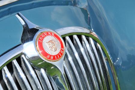 car grill: NOTTINGHAM, UK. JUNE 1, 2014: Jaguar retro car displayed at the vintage car fair in Nottingham, England.