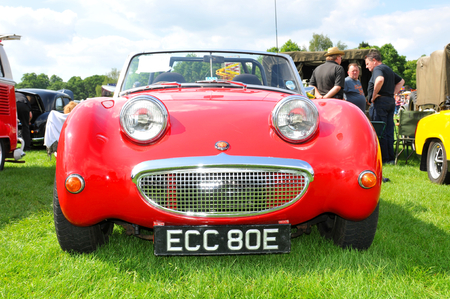 frontal view: NOTTINGHAM, UK. JUNE 1, 2014: Austin Healey retro car displayed at the vintage car fair in Nottingham, England. Editorial